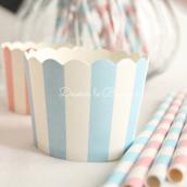 Caissettes cupcake rayures bleues - Lot de 24