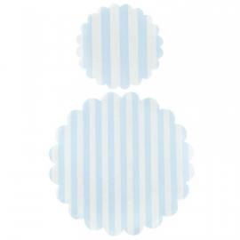 Napperons papier rayures bleues - Lot de 20