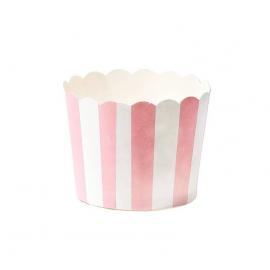 Grandes caissettes cupcake rayures roses - Lot de 24