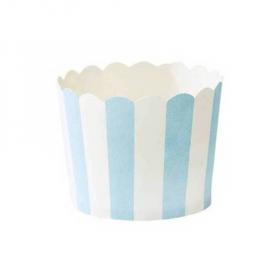 Grandes caissettes cupcake rayures bleues - Lot de 24