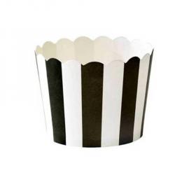 Grandes caissettes cupcake rayures noires - Lot de 24