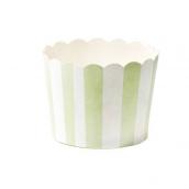 Grandes caissettes cupcake rayures vertes - Lot de 24
