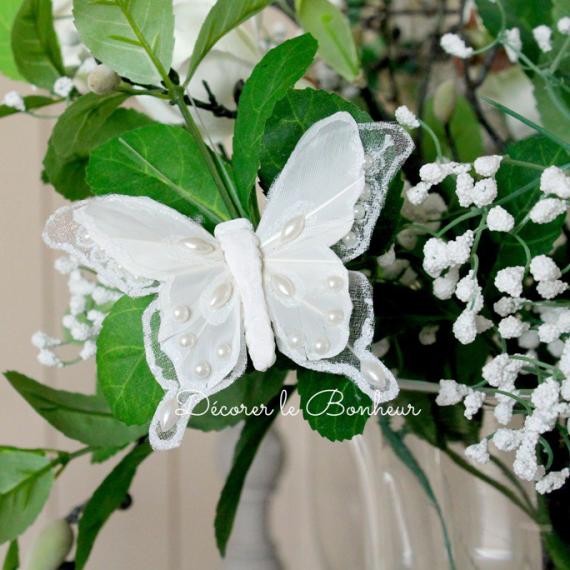 Papillon clip féerie perle blanc