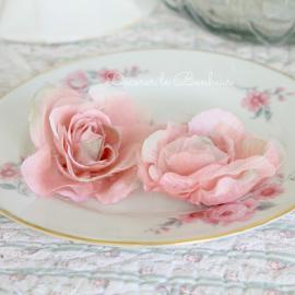 Roses anglaises sur pince vintage pink - Sachet de 12