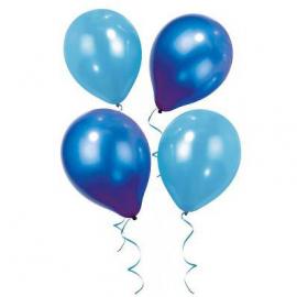 Ballons nuances bleu azur - Assortiment de 12 ballons et ruban