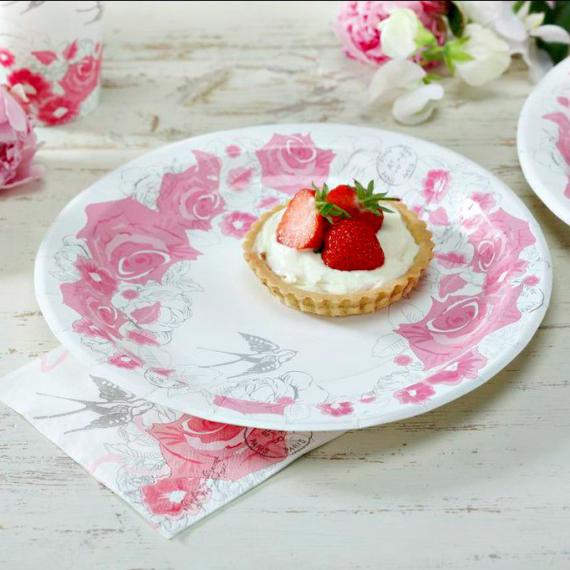 Assiettes romantique roses