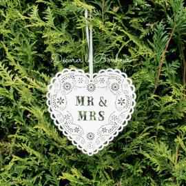 Coeur bois dentelle Mr & Mrs
