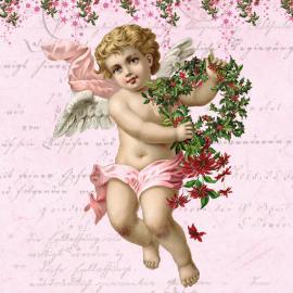 Serviettes pink cupidon - Lot de 20