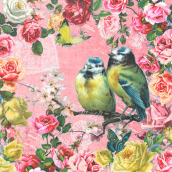 Serviettes romantique pink bird - Lot de 20