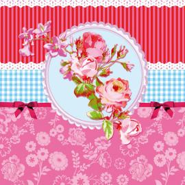 Serviettes pimpante médaillon floral - Lot de 20