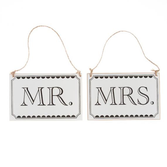 Pancartes Mr & Mrs - Lot de 2