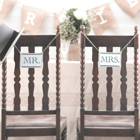 Pancartes Mr & Mrs - Lot de 2