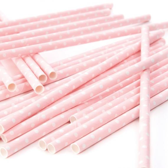 Pailles papier rose pois blanc - Lot de 25