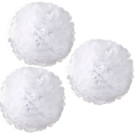 Grands pompoms blanc - Lot de 3