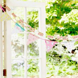 Guirlande de fanions vintage patch floral