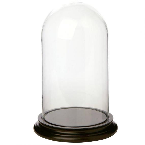 Grand globe verre socle bois noir
