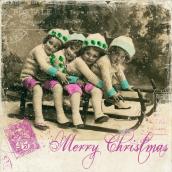 Serviettes vintage christmas card - Lot de 20