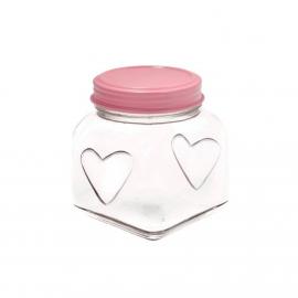 Bonbonnière décor coeur top rose