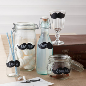 Etiquettes ardoise moustaches - Lot de 12