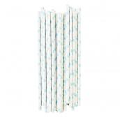 Pailles papier coeurs bleu - Lot de 25