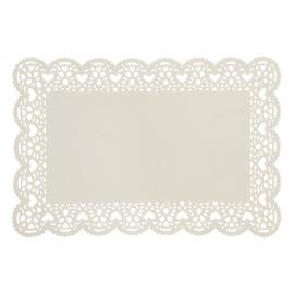 Set de table blanc festonné découpe coeur