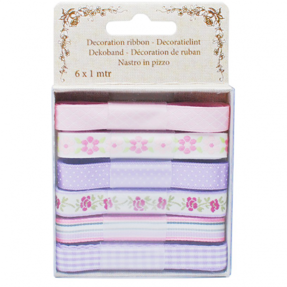 Coffret rubans patch rose et parme - Lot de 6