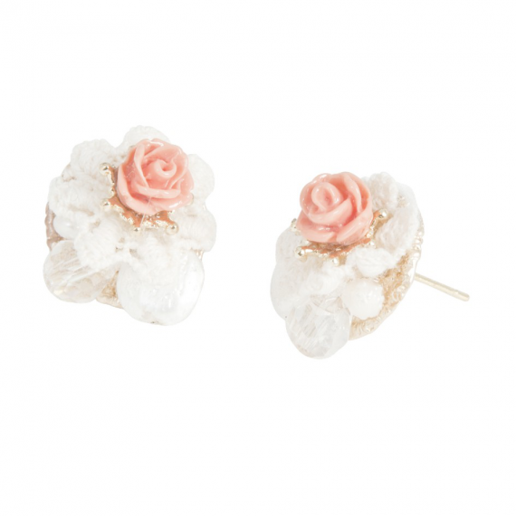 accessoires boucles d 39 oreilles rose corail dentelle et perles facettes. Black Bedroom Furniture Sets. Home Design Ideas
