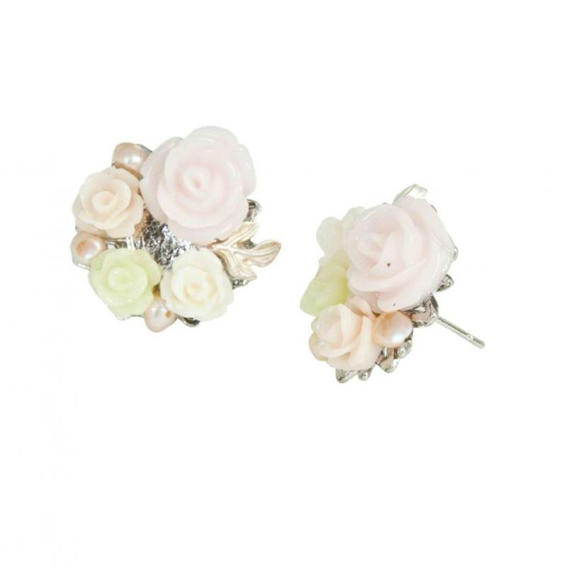 accessoires boucles d 39 oreilles roses et perles. Black Bedroom Furniture Sets. Home Design Ideas