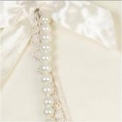 Collier sautoir perles, ruban dentelle et noeud