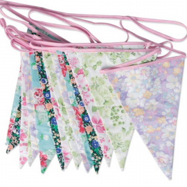Guirlande tissu de fanions english patch floral