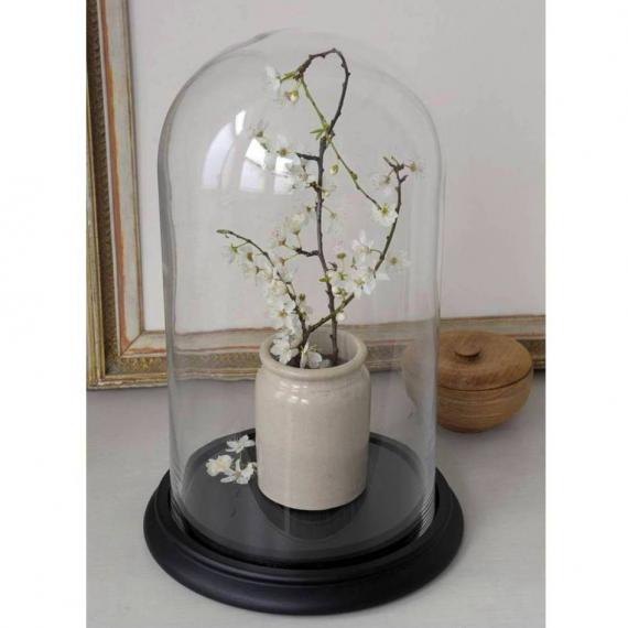 Grand globe verre socle bois