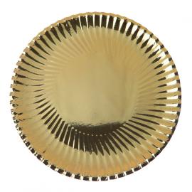 Assiettes or plissé soleil - Lot de 10