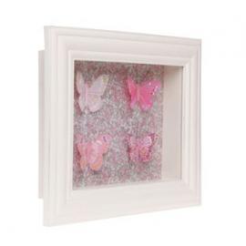 Cadre vitrine liberty papillons roses