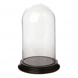 Très grand globe verre socle bois