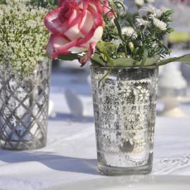 Photophore mercurisé fleurettes vintage