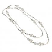 Sautoir perles blanches et à facettes