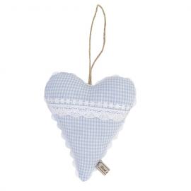 Décoration coeur vichy bleu