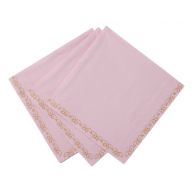 Serviettes cocktail romance rose - Lot de 20