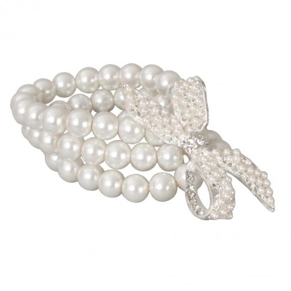 Bracelet perles 3 rangs noeud