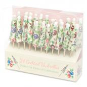 Piques ombrelles cocktails fleurettes - Lot de 24