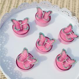 Bougies papillons roses - Coffret de 6