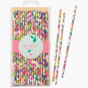 Pailles papier flower power - Lot de 30
