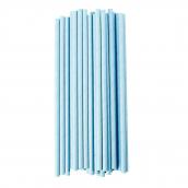 Pailles rétro papier uni bleu - Lot de 25