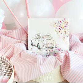 Serviettes papier pink just married - Lot de 20