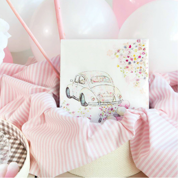 Serviettes papier pink just married - Lot de 20