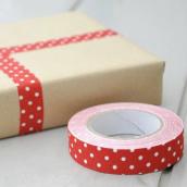 Ruban masking tape tissu rouge à pois - 5 mètres