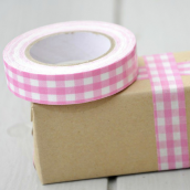 Ruban masking tape tissu vichy rose