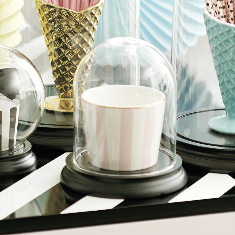 centre de table globe verre socle bois noir. Black Bedroom Furniture Sets. Home Design Ideas