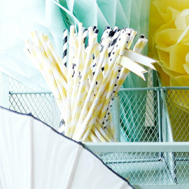 Pailles papier rayures jaunes - Lot de 25