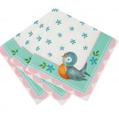 Serviettes gâteaux baby shower birdy pastel